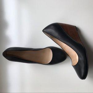 Cole Haan black leather wedge heels